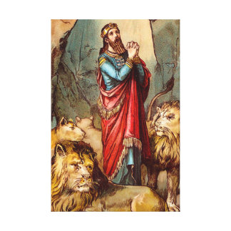 Daniel in the lion`s den Wrapped Canvas
