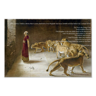 Daniel in the Lion's Den Bible Art Print