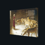 """Daniel in the Lion&#39;s Den Bible Art Scripture Canvas Print<br><div class=""""desc"""">A handsome gift for men or anyone who loves Daniel of the Bible. Bible Scripture Art features Daniel standing among the Lions, trusting God. Bible Verse from Daniel 6:27:He delivers and rescues, And He works signs and wonders In heaven and on earth, Who has delivered Daniel from the power of...</div>"""