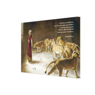 Daniel in the Lion's Den Bible Art Scripture Canvas Print