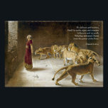 """Daniel in the Lion&#39;s Den Bible Art Scripture Poster<br><div class=""""desc"""">A handsome gift for men or anyone who loves Daniel of the Bible. Bible Scripture Art features Daniel standing among the Lions, trusting God. Bible Verse from Daniel 6:27:He delivers and rescues, And He works signs and wonders In heaven and on earth, Who has delivered Daniel from the power of...</div>"""