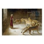 Daniel in the Lion's Den Bible Art Scripture Poster