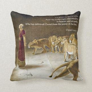 Daniel in the Lion's Den Bible Art Scripture Throw Pillows
