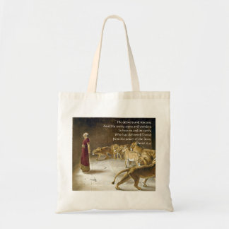 Daniel in the Lion's Den Bible Art Scripture Tote Bag