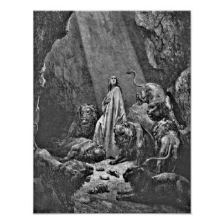 Daniel in the Lion's Den Biblical Illustration Poster