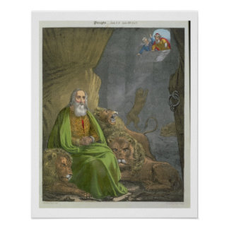 Daniel in the Lions' Den, from a bible printed by Poster