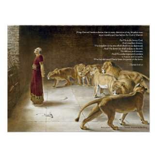 Daniel in the Lion's Den w/Bible Verse Art Print