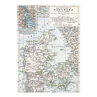 Danish Antique Map of Denmark Danmark Invite