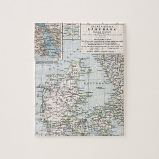 Danish Antique Map of Denmark, Danmark Jigsaw Puzzle