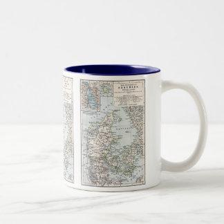Danish Antique Map of Denmark, Danmark Two-Tone Coffee Mug