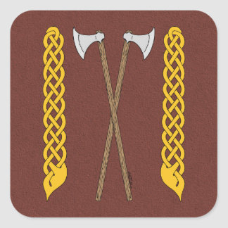 Danish Axes Crossed with Plaitwork Square Sticker