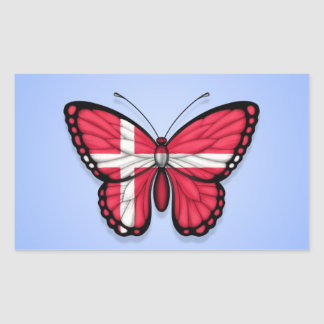 Danish Butterfly Flag on Blue Sticker