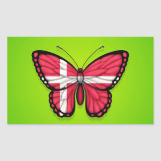 Danish Butterfly Flag on Green Rectangular Stickers