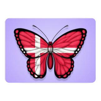 "Danish Butterfly Flag on Purple 5"" X 7"" Invitation Card"