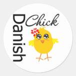 Danish Chick Round Stickers