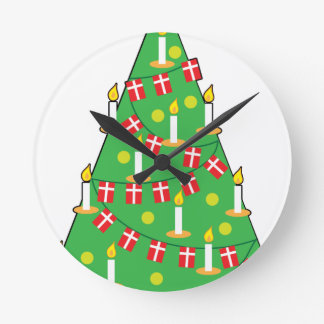 Danish Christmas Tree Round Clock