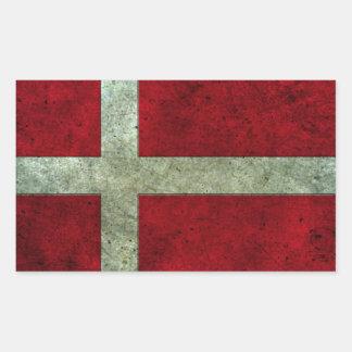 Danish Flag Aged Steel Effect Rectangular Sticker