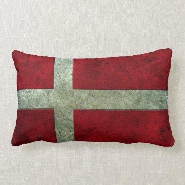 Danish Flag Aged Steel Effect Throw Pillow