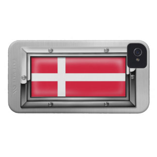 Danish Flag in a Steel Frame iPhone 4 Case