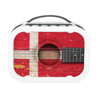 Danish Flag on Old Acoustic Guitar Lunch Box