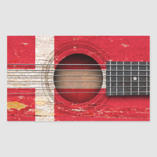 Danish Flag on Old Acoustic Guitar Rectangular Sticker