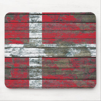 Danish Flag on Rough Wood Boards Effect Mouse Pad