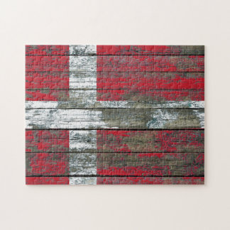 Danish Flag on Rough Wood Boards Effect Jigsaw Puzzles
