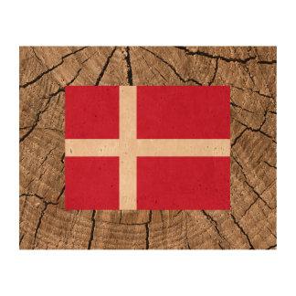Danish flag on tree bark cork paper print