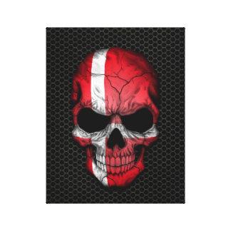 Danish Flag Skull on Steel Mesh Graphic Canvas Print