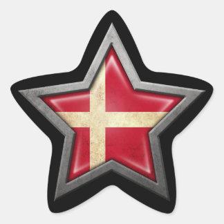 Danish Flag Star on Black Star Sticker