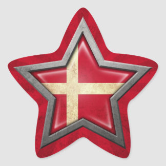 Danish Flag Star with Rays of Light Star Stickers
