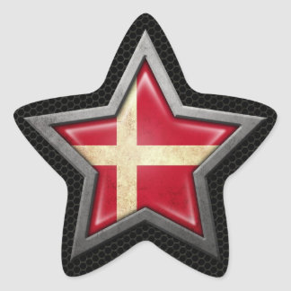 Danish Flag Star with Steel Mesh Effect Stickers