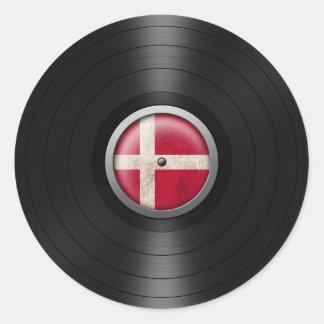 Danish Flag Vinyl Record Album Graphic Classic Round Sticker