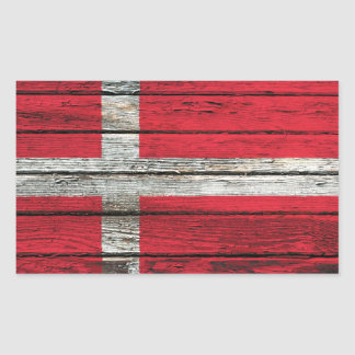 Danish Flag with Rough Wood Grain Effect Rectangle Stickers