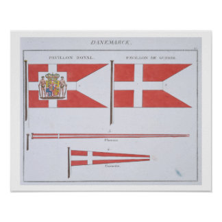 Danish Flags, from a French book of Flags, c.1819 Poster