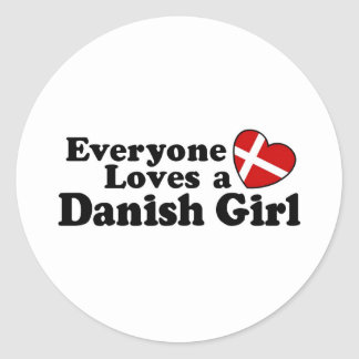 Danish Girl Classic Round Sticker