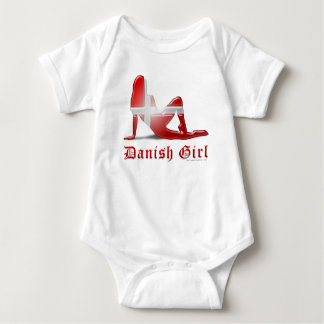 Danish Girl Silhouette Flag Baby Bodysuit
