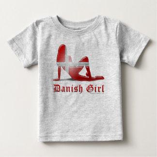 Danish Girl Silhouette Flag Baby T-Shirt