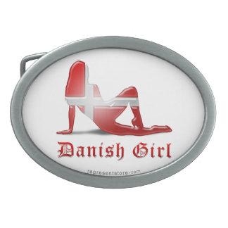 Danish Girl Silhouette Flag Belt Buckles