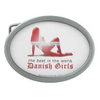 Danish Girl Silhouette Flag Belt Buckle