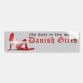 Danish Girl Silhouette Flag Bumper Sticker