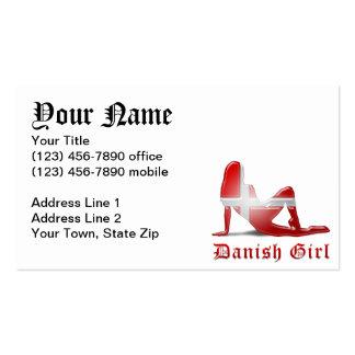 Danish Girl Silhouette Flag Business Card Templates