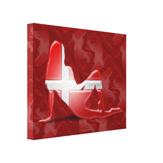 Danish Girl Silhouette Flag Stretched Canvas Prints