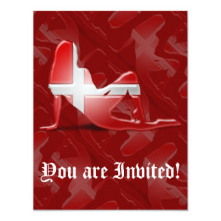 Danish Girl Silhouette Flag Card