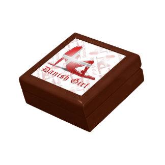 Danish Girl Silhouette Flag Keepsake Boxes