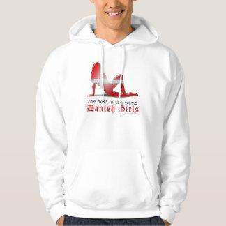 Danish Girl Silhouette Flag Hoodie