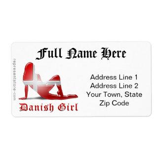 Danish Girl Silhouette Flag Label