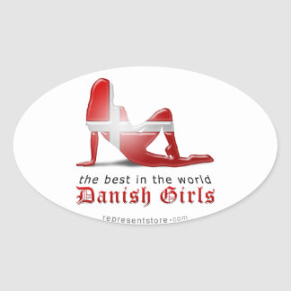 Danish Girl Silhouette Flag Oval Sticker