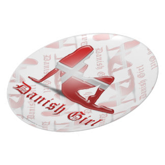 Danish Girl Silhouette Flag Party Plate