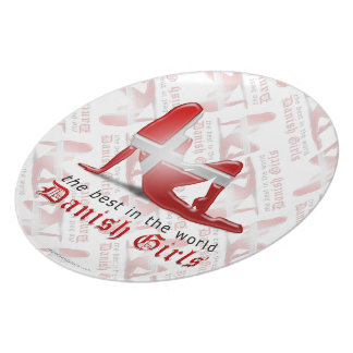Danish Girl Silhouette Flag Party Plates